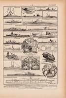 Tengeralattjáró, nyomat 1923, francia, 19 x 29 cm, lexikon, eredeti, hajó, óceán, tenger, radar