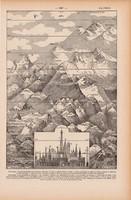 Hegyek, nyomat 1923, francia, 19 x 29 cm, lexikon, eredeti, hegy, magasság, épület, hegycsúcs