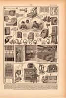 Telefon, nyomat 1923, francia, 19 x 29 cm, lexikon, eredeti, telefonközpont, fali, készülék