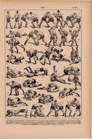 Birkózás, nyomat 1923, francia, 19 x 29 cm, lexikon, eredeti, sport, birkózó, fogás