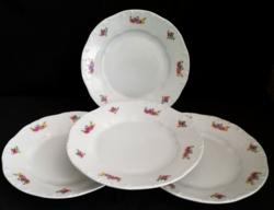 Jelzett Zsolnay virág mintás sütis tányér 4 db