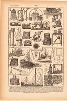 Telegráf, nyomat 1923, francia, 19 x 29 cm, lexikon, eredeti, telegraph, elektromos, távközlés