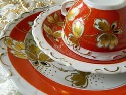 Ritka Kruger Geiersthal csésze kistányér és süteményes, 3-as szzett, 24. kar. arany,1930-as évekből
