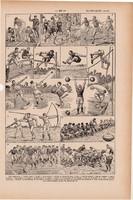 Olimpia, nyomat 1923, francia, 19 x 29 cm, lexikon, eredeti, olimpiai, sport, játékok, játék