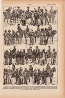 Csendőrség, nyomat 1923, francia, 19 x 29 cm, lexikon, eredeti, csendőr, katona, hadtörténet, rend