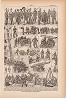 Tűzoltók, nyomat 1923, francia, 19 x 29 cm, lexikon, eredeti, tűz, tűzoltó, oltás, autó, készülék