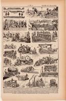Útépítés, nyomat 1923, francia, 19 x 29 cm, lexikon, eredeti, út, járda, kő, gép, munkás, gőzgép