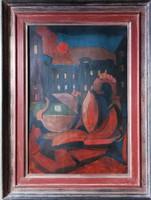 Ritka! Virág Péter (Fiore) absztrakt festmény. Hozzá gyártott keretben. Mérete 66x88cm kép 48x69cm.