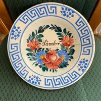 Apátfalvi / Bélapátfalvi Sándor feliratú népi festett tányér