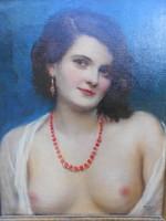 Áldor János László előkerült festménye 1930-ból.Art deco erotika.EREDETI.