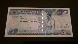 Etiópia 5 birr UNC 2006