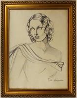 Art Deco Lempicka Szignózott Ceruza Rajz Papíron, Üvegezett Keretben!