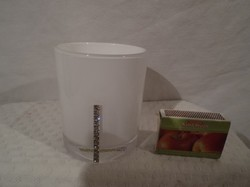Glass - new - exclusive - with rhinestones - German - snow white - candle holder - 9 x 7 cm -