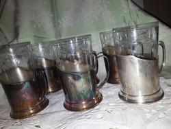 6db Ezütözött tartóban teás pohár
