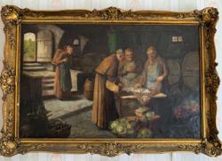 Szerzetesek olajfestmény a XIX. század másodi feléből