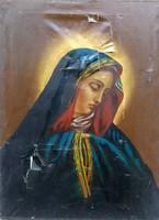 Antik barokk festmény ,Mária ( sérült ) Mérete:69x53