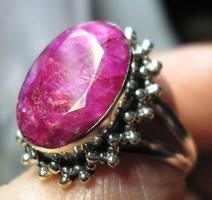 925 ezüst gyűrű 17,5/55 mm, színjavított rubinnal