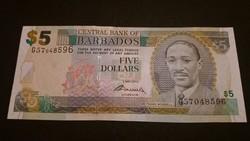Barbados 5 Dollar 2012 UNC