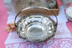 Viktoriánus antik ezüstözött tál ,kínáló