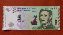 Argentína 5 pesos 2015 UNC