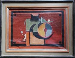Ritka! Virág Péter (Fiore) absztrakt festmény. Mérete kerettel 70x90cm, keret nélkül 50x70cm.
