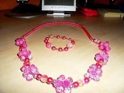 Francia Rózsaszín gyöngy- Virág Nyakék + Karkötő Szett 75 cm !
