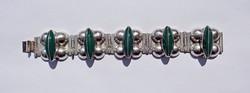 Széles nagy zöld köves mexikói sterling ezüst karkötő