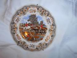Antik angol   fali tányér- levehető fém szerelékkel