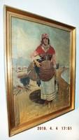 Halász lány EREDETI,,öreg,,olajvászon,60x80-s