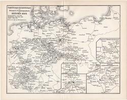 A Német Birodalom telefonhálózatának térképe és telefon V., egyszínű nyomat 1894, litográfia, térkép