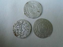 3db lengyel Öreg zsigmond és I János 1/2 ezüst garas