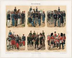 Gyalogság, litográfia 1894, német nyelvű, eredeti, színes nyomat, hadsereg, hadászat, egyenruha