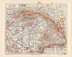 Magyarország, Galícia és Bukovina térkép 1898, lexikon melléklet, német nyelvű, eredeti, Budapest