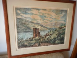 Jánossy Ferenc színezett rézkarca / Salamon torony