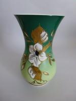 Antik virágmintás,dúsan aranyozott Schaubachkunst váza