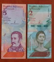 Venezuela 2 + 5 Bolivar UNC 2018