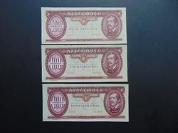 3 darab 100 forint 1992 Sorszámkövető bankjegyek UNC !