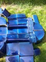 ART-DECO / szecessziós Meisseni cserépkályha ragyogó kobaltkék színben
