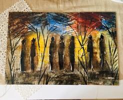 K. Holéczy Etus szignózott festett csempe kép