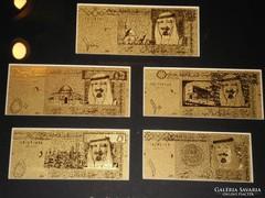 24 Kt ARANY SZAUD ARÁBIAi KIRÁLYSÁG 6 db BANKJEGY LUXUS FULL SZETT, RITKA BANKJEGYVERET GYŰJTEMÉNY