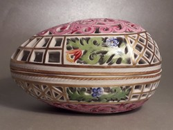 Antik Herendi porcelán áttört tojás alakú bonbonier
