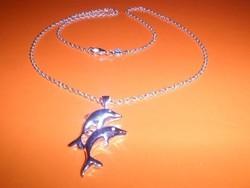 Delfin Szerelmes Pár 925 ezüst - fehérarany Nyaklánc