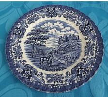 Ironstone - Old Country Castles - angol vidéki élet jelenetes kék tányér