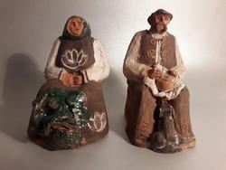 Kerámia idős pár szobor kettő darab különálló figura