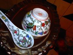 Kínai  kézzel festett  rizses tál+ kanál