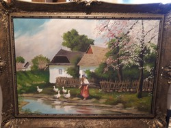 Nagyméretű Tanyasi udvar olaj vászon festmény