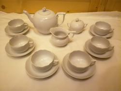 6 személyes Herendi fehér porcelán teáskészlet