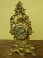 Barokk stílusú sárgaréz kandalló óra