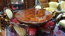 Barokk stíl étkezőasztal 4 db székkel