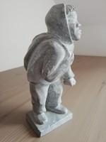 Mongol kőszobor, mongóliai földműves figura jelzés nélkül